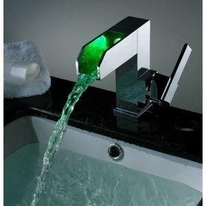 Changeant de couleur contemporain conduit robinets de robinet évier cascade salle de bains (chromé)