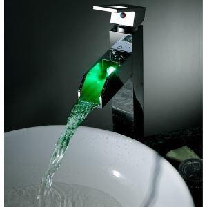 (Entrepôt UE) Laiton brillant eau couleur changeant LED robinet de lavabo