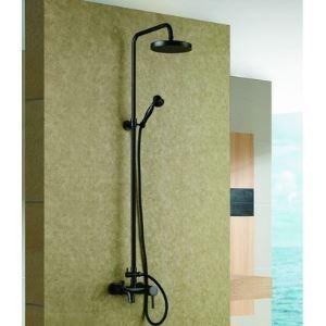 (Entrepôt UE) Robinet de douche en laiton massif Antique téléphone exposées Style bain avec douche à main