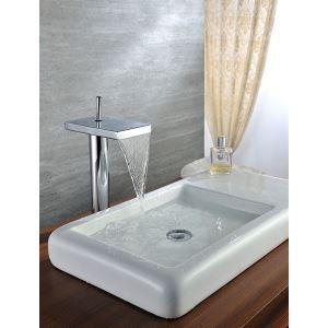 Robinet lavabo avec mitigeur Plate-forme montée Haute chromé cuivre
