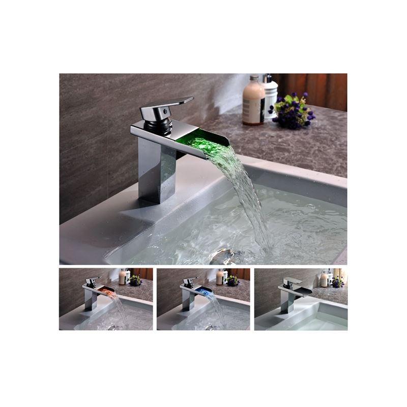 Led robinet de salle de bains en laiton cascade chrom for Robinet salle de bain cascade led