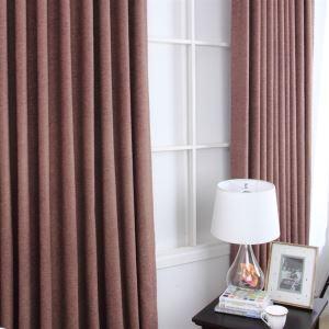 (Entrepôt UE) Faux lin solide brun chambre contemporaine assombrissement rideaux Panel(ML9122-3)