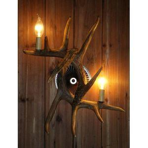 (Entrepôt UE) Artistique ramure applique mural de cerf en résine avec 2 lumières