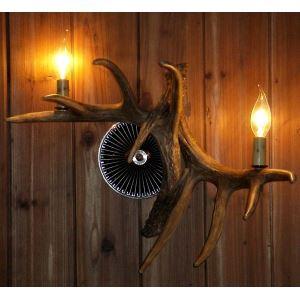 (Entrepôt UE) Applique murale bois du cerf  en résine à 2 lampes style rétro vintage pour couloir chambre salle cuisine