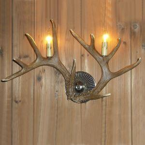 (Entrepôt UE) Applique mural bois de cerf en résine à 2 lampes