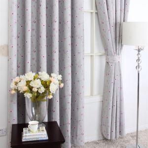 Style américain imprimé motif Floral gris Polyester rideaux panneau MLS9145 d'économie d'énergie