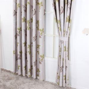 Pays Style congé impression motif gris Polyester rideaux panneau MLS9146 d'économie d'énergie