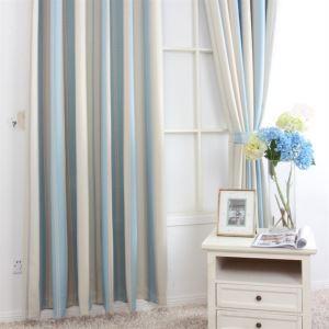 Méditerranéenne Stripe impression motif bleu Polyester énergétiques rideaux panneau MLZ9153