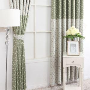 Pays Style impression motif Floral vert et gris Polyester éconergétiques rideaux panneau MLZ9155