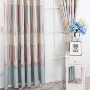 Contemporain Stripe impression motif rouge et bleu Polyester éconergétiques rideaux panneau MLZ9156