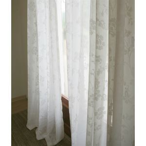 Panneau moderne Floral blanc Jacquard Polyester voilages