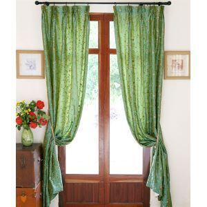 (Entrepôt UE) Moderne vert Floral en relief Polyester rideaux panneau d'économie d'énergie