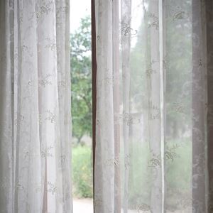 (Entrepôt UE) Panneau moderne Floral blanc Jacquard Polyester voilages