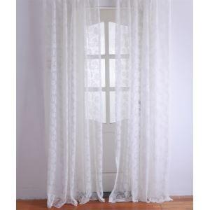 Moderne Floral blanc Jacquard Polyester voilages panneau-2052