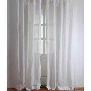 Moderne solide blanc lin rideaux panneau-2053