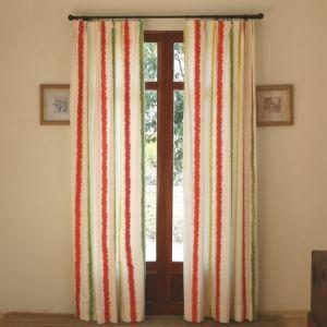 (Entrepôt UE) Modern rayures blanc et rouge en relief coton Energy Saving rideaux panneau-802