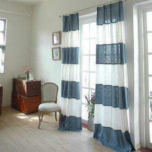 Modern rayures blanc et lin Bule éconergétiques rideaux panneau-843