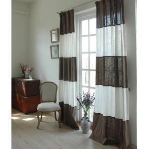 Modern rayures blanc et moka lin éconergétiques rideaux panneau-845
