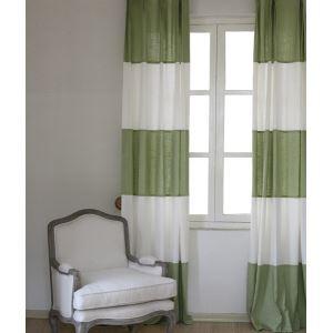 Rayures moderne blanc et vert lin éconergétiques rideaux panneau-846