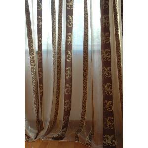Polyester Jacquard rayures moderne blanc et café pure rideaux panneau-859