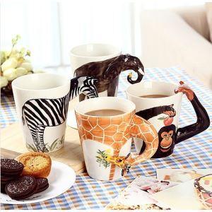 (Entrepôt UE) Pur peint à la main en céramique tasse animale
