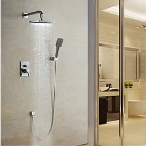 (Entrepôt UE) Robinet de douche Montage mural contemporain chromé pour salle de bain
