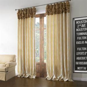 (Un panneau) Modèle néoclassique Jacquard Beige Floral polyester et lin Rideaux obscurcisseurs de pièce-600
