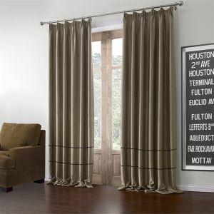 (Un panneau) Modern brun clair solide motif polyester et coton Rideaux Occultants-602