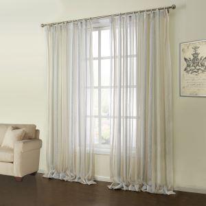 (Entrepôt UE) (Un panneau) Moderne Jacquard motif coloré de rayures polyester et coton voilages-09