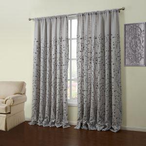 (Entrepôt UE) (Un panneau) Gris Motif néoclassique floral brodé en lin rideaux obscurcisseurs de pièce-55