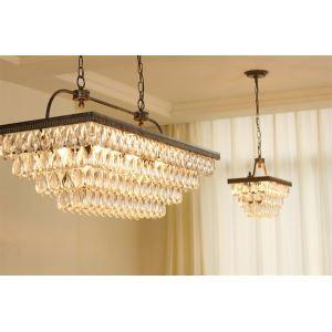 (Entrepôt UE) Lustre Lampe Plafonniers rétro de luxe lumières pendentif en cristal