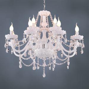Lustre baroque en cristal blanc avec 12 lumières pour salon chambre salle