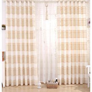 (Entrepôt UE) (Un panneau) copie moderne Beige Plaid polyester et lin voilages
