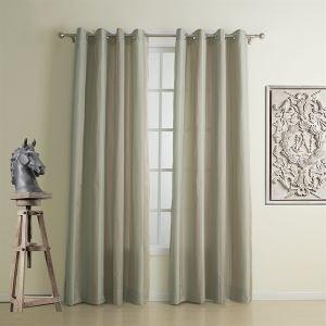 (Un panneau) néoclassique jacquard beige stripe haute précision polyester rideau d'économie d'énergie-1311