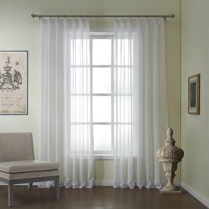 (Entrepôt UE) (Un panneau) moderne relief blanc classique Motif lin et polyester voilages