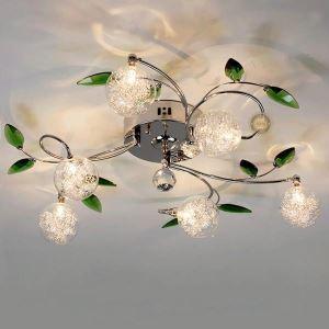 Plafonnier à 6 lampes D 68 cm feuilles vertes pour salle chambre