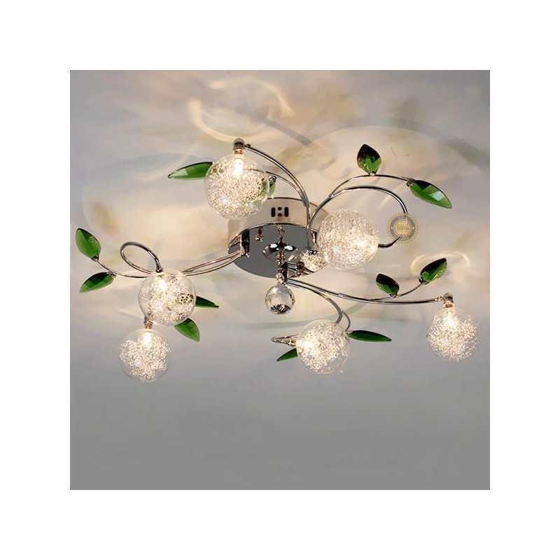 Plafonnier 224 6 Lampes D 68 Cm Feuilles Vertes Pour Salle