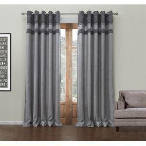 (Un panneau) Motif Moderne Jacquard Gris rayure polyester et coton rideaux d'économie d'énergie-549