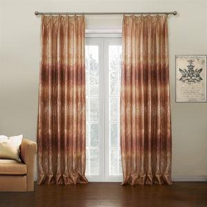 (Un panneau) Modèle néoclassique Jacquard roux couleur de gradient Nouveauté Polyester Rideaux d'économie d'énergie-637