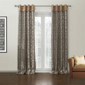 (Entrepôt UE) (Un panneau) Motif Jacquard Pays Châtain nouveauté polyester et coton rideaux obscurcisseurs de pièce-629