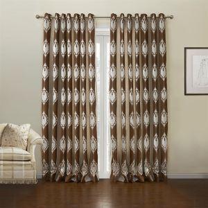 (Entrepôt UE) (Un panneau) Motif Pays Jacquard brun Floral polyester et coton Rideaux obscurcisseurs de pièce-632