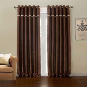 (Un panneau) Pays brun Polyester Rideaux Occultants-633