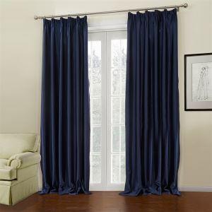 (Entrepôt UE) (Un panneau) néoclassique bleu de relief solide Polyester Motif Chambre des rideaux occultants-648
