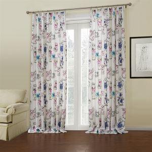 (Entrepôt UE) (Un panneau) Motif moderne floral blanc Polyester rideaux obscurcisseurs de pièce-656