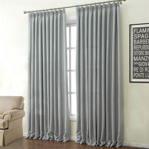 (Un panneau) Moderne Gris Motif solide polyester et coton rideaux d'économie d'énergie-503