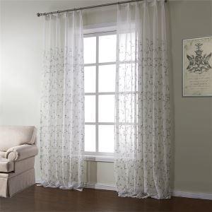 (Entrepôt UE) (Un panneau) Nnéoclassique blanc brodé motif floral Polyester Voilages-589