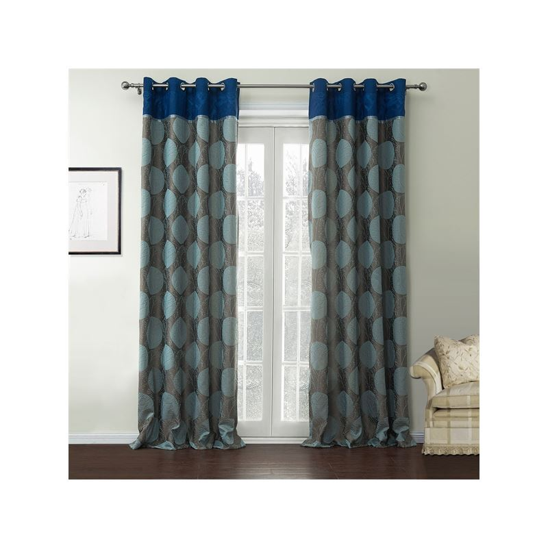 rideaux d conomie d nergie jacquard bleu et gris motif g om trique rayon. Black Bedroom Furniture Sets. Home Design Ideas