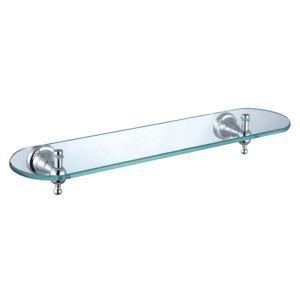 Afficher les détails pour (Entrepôt UE) Bain couleur de chrome étagère en verre simple-couche en laiton plateau