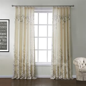 (Un panneau) Néoclassique Imprimer Beige Motif floral polyester et lin rideaux d'économie d'énergie-572