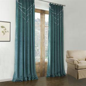 (Un panneau) moderne vert foncé motif géométrique polyester et coton Rideau occulant